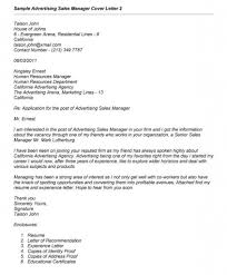 Cover Letter Advertising Sales Manager Senior Advertising Sales