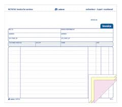 invoice for services 3 part carbonless