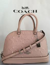 mini sierra satchel signature debossed patent leather coach f27597 light pink