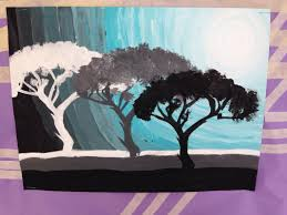 monochromatic tree paintings