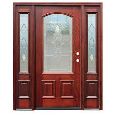 wooden front door with glass.  With Craftsman 9 Lite Stained Mahogany Wood Prehung In Wooden Front Door With Glass W