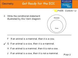 Write A Conditional Statement From The Venn Diagram Geometry Get Ready For The Eoi Pass Content