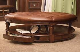 storage ottoman coffee table. Attractive Round Leather Ottoman Coffee Table Decoration Regarding Prepare 6 Storage