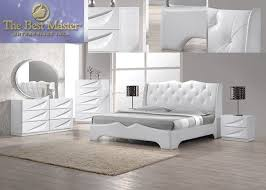 modern pieces madrid white lacquer king bedroom set furniture sets ...