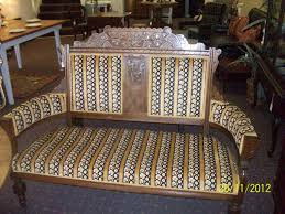 antique victorian parlor mahogany settee chair for
