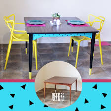 Before & After Modern Geometric Painted Dining Table ·