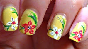 Summer Lily Nail Art Design Tutorial (Perfect for short nails ...