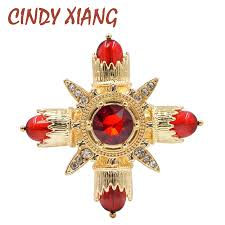 <b>CINDY XIANG New</b> Cross <b>Design</b> Red Color Brooches for Women ...
