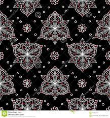 Zwart Rood En Wit Bloemen Naadloos Patroon De Achtergrond Van Het