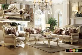 Traditional Furniture Living Room Traditional Formal Livingroom Set Pearl Bonded Leather Antique