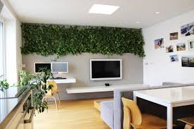 view in gallery home office with a vertical wall of plants