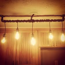 Rustic Home Lighting DIY Rustic Home Track Lighting For Kitchen Made With Blackened Steel Exposed Sockets And
