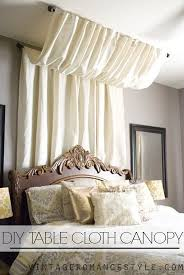 Use a curtain rod and a table cloth for a cheap Marie Antoinette ~vibe~.