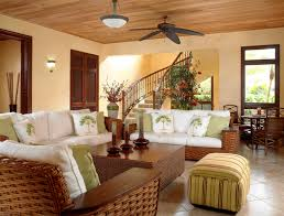 tropical living rooms: mesmerizing tropical living room furniture with brown table and beautiful sofa also ceiling lam