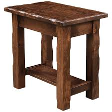 hand hewn chair side table rustic amish furniture cabinfield fine furniture