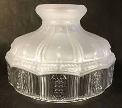 10 glass oil kerosene lamp shade satin crystal top clear panels fits aladdin