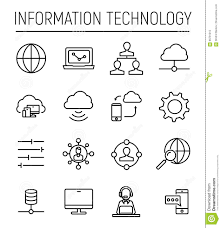 Information Technology Chart Set Of Information Technology Icons In Modern Thin Line