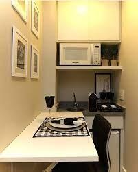 """Em um """"espaço pequeno"""", o ideal é se ter móveis com as dimensões apropriadas, ou seja, proporcionais à área em. Copa Escritorio Aproveitando Pequenos Espacos Renovacao De Cozinha Decoracao Da Casa Minimalista Sala De Escritorio"""