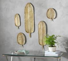 hanging brass palm fronds set of 5