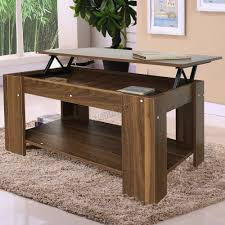 sentinel foxhunter lift up top coffee table with storage shelf living room ct01 walnut
