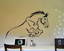 Horse Wall Decal, Mustang Jumping Sticker, Girls Room Decor, Teen Bedroom  Decal,