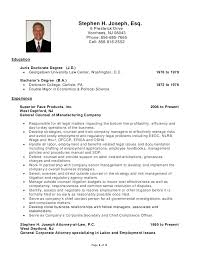 Stephen H Joseph Resume Labor And Epic In House Employment Lawyer