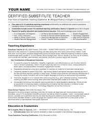 Substitute Teacher Resume Examples Substitute Teacher Resume Example Example Of Resumes 1