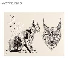 татуировка переводная рысь черно белая 024 3599294 купить по