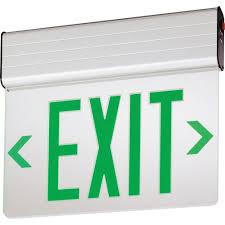 Edge Lit Exit Light Lithonia Lighting Edgr 2 Gmr El M4 Emergency Double Face Led Edge Lit Exit Sign Brushed Aluminum Housing Green Letter 120 277 Volt Sensor Switch
