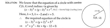 find the equation of a circle with center 3 2 and radius