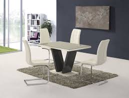 ga vico gloss grey glass top designer 160cm dining set 4 6 grey