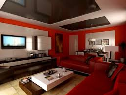 interior design gray and red homely concept for elegant furniture living room with black and red furniture