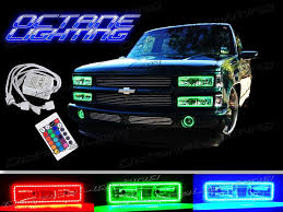 chevy truck headlights 89 99 chevy gmc truck multi color changing led shift rgb headlight halo ring