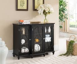 logan black wood contemporary sideboard buffet console table china cabinet with glass doors storage com