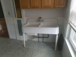 vine double basin porcelain over cast iron sink with legs