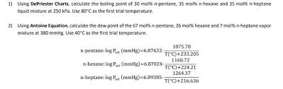Depriester Chart Calculator Solved 1 Using De Priester Charts Calculate The Boiling