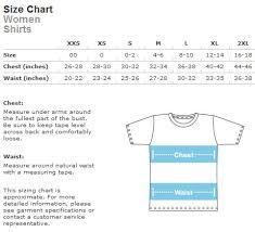 Women Shirts Size Chart