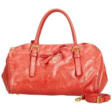vintage authentic prada red leather satchel italy medium for at 1stdibs