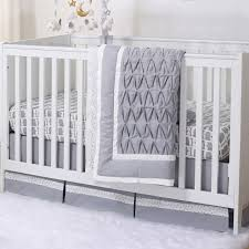 grey owl and silver dot pleated 3 piece crib bedding set by the peanut shell