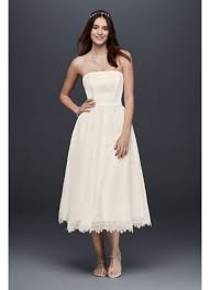 dotted tulle tea length wedding dress with lace david s bridal