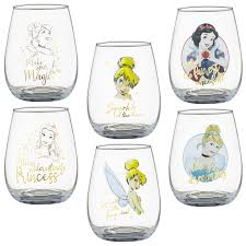 disney princess set of 2 glass tumblers drinking glassware tinkerbell cinderella