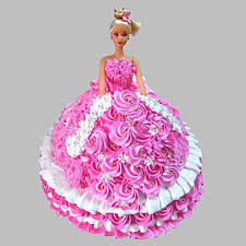 Rosy Barbie Cake Vanilla 2kg Eggless Gift Barbie Princess Cakes