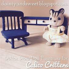 Using Dollar Store Dollhouse Furniture for Calico Critters