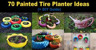painted tire planters and pots 70