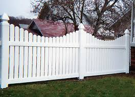 Scalloped vinyl picket fence Cape Cod 4 Scallop Under Picket With French Gothic Posts Sw Fence 4 Vinyl Fencing Archives Sw Fence Inc