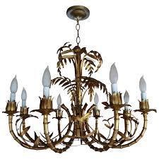 italian gilt metal palm leaf chandelier for