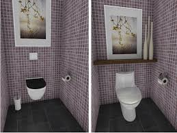 small bathroom with wall mounted toilet shelving