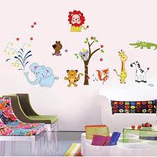 Wall Decor Stickers For Living Room Nursery Animal World Wall Decals Wall Art Boys Room Girls Room