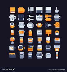 kitchen utensils art. Kitchen Utensils Pixel Art Icons Set Vector Image