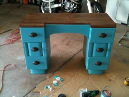 diy furniture refinishing projects. Turquoise Refinished Desk. Painted Stained Refurbished Two Tone Stain Furniture Projects. DIY Diy Refinishing Projects I